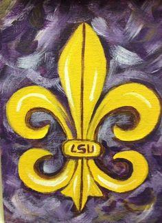 Fleur de Lis LSU Purple and Gold made to order by JonisArtStudio, $40.00