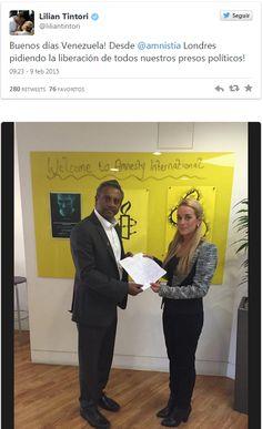 La esposa del dirigente político Leopoldo López y activista por los Derechos Humanos, Lilian Tintori, se reunió con el secretario general de Amnistía Internacional, Salil Shetty, en la sede de la o...