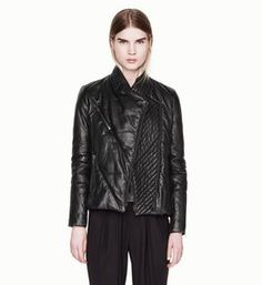 Pitch Leather Cropped Puffer