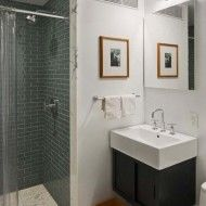 narrow bathroom ideas grey white combination - Basement Bathroom Design