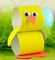 Paper Roll Chick - Easter Crafts for Kids - Growing a Jeweled Rose (play recipes, kids crafts, science, slime, & more) - Winter Fashion Bunny Crafts, Easter Crafts For Kids, Toddler Crafts, Preschool Crafts, Paper Easter Crafts, Arts And Crafts For Kids Easy, Bird Paper Craft, Paper Bunny, Kids Diy