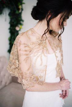 Golden beaded capelet by Tessa Kim #gold #bride #bridal #wedding #coverup #cape #caplet #capelet #2016 #2017
