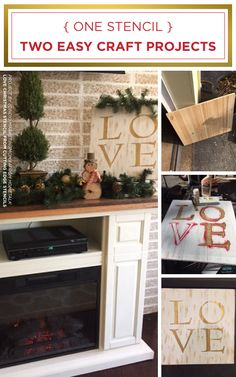 Cutting Edge Stencils shares how to make a DIY wooden wall art using the LOVE Christmas Craft Stencil. http://www.cuttingedgestencils.com/christmas-stencils-diy-home-decor.html