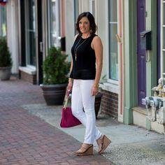 Black Peplum Sweater + White Jeans