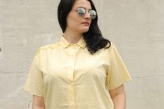 Yellow short sleeve shirt by Troll2Treasure on Etsy