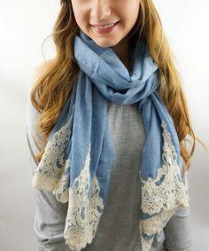 SWAKCouture Blue & Cream Lace-Trim Scarf   zulily