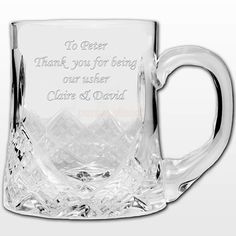 Engraved Half Pint Crystal Tankard :: Add ANY message of your choice and despatched within 24 hours Engraved Wedding Gifts, Wedding Gifts For Bride And Groom, Engraved Gifts, Personalized Gifts, Fathers Day Gifts, Valentine Day Gifts, Online Gift Store, Communion Gifts, Half Pint