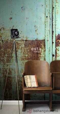 Esta Vintage Rules fotowand WallpaperXXL metalen platen turquoise bruin - Esta home - Fotowand Adult - Behang Fotowand +++ - Behangstore