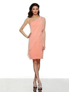 d7073281d69 One Shoulder Knee Length Chiffon Pleating Sheath Column Pink Wedding Guest Bridesmaid  Dress