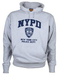 """Show the boys in blue some love when you wear the officially licensed """"""""NYPD Full Chest Ash Hooded Sweatshirt!"""""""" This ash gray sweatshirt features the department's initials and shield across the chest"""