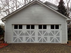 Beautiful Dual Color Three Panel Carriage House Door With Large Windows