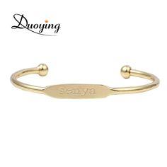 DUOYING Women Fashion Bangle Bracelet Personalized Custom Name Copper Bracelet Initial Engraved Name Gold Love Bangle For Girl