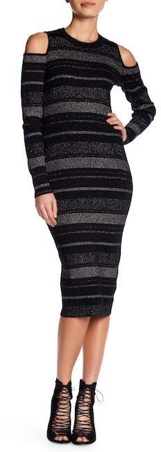 KENDALL + KYLIE Kendall & Kylie Metallic Stripe Cold Shoulder Wool Blend Sweater Dress