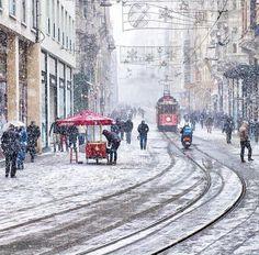 "Arif Özavci - ""Snow and tramway İstiklal Street  Taksim Turkey"""