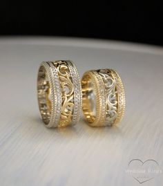 Vintage style two tone gold wedding bands, Unique matching wedding bands, Filigree wedding rings, Wedding bands set, Promise rings his hers by WeddingRingsStore on Etsy… Matching Wedding Rings, Unique Wedding Bands, Wedding Band Sets, Wedding Matches, Gold Wedding Rings, Gold Rings, Diamond Rings, Matching Rings, Matching Set
