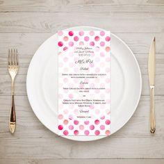 Wedding menu printable Pink wedding menu by CardsForWedding