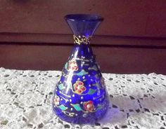 Victorian Bristol Blue Glass with Enamel Vase by BountyFromThePast on Etsy
