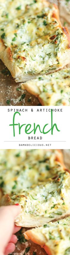 Spinach and Artichoke Dip French Bread- Spinach and Artichoke Dip French Bread – The classic spinach and artichoke dip is upgraded into the cheesiest, crustiest French bread ever! Spinach and Artichoke Dip French Bread TGIF – This Grandma is Appetizer Recipes, Dinner Recipes, Appetizers, Party Recipes, Brunch, Fingers Food, Bagels, Food For Thought, Artichoke Dip