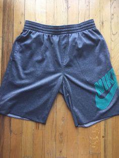 Mens Nike basketball shorts sz M gray with aqua logo EUC  | eBay