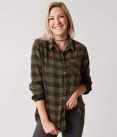 Daytrip Washed Flannel Shirt - Women's Shirts/Blouses in Urban Green Buffalo | Buckle