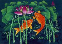 Koi Fish and Lotus Flowers - Chinese Folk Art Painting - South . Folk Art Flowers, Flower Art, Lotus Flowers, Folk Art Fish, Stained Glass Tattoo, Contemporary Decorative Art, Asian Artwork, Batik Art, Silk Art