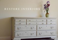 Gray dresser with metallic accents and pewter glaze. Painted hardware.