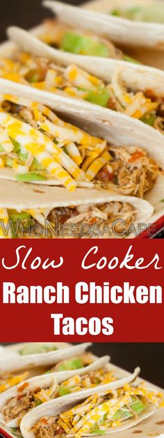 Slow Cooker Ranch Chicken Tacos is part of our 40 Meals in 4 Hours and is a great family meal that can be made in advance for a delicious dinner. | Who Needs A Cape? {pinned over 5K times}