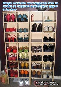 rangement pour chaussures= des meubles pour CD