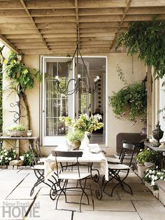 I love the use of plants, the one on the corner wall, the ceiling, just ideas outside the box. Find Your Look | New England Home Magazine
