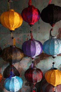 Vietnam lamp , family handmade out of colorfulll silk. So many years passed since my last travel just one broke .3 differnet forms and more sizes (Lanterns)
