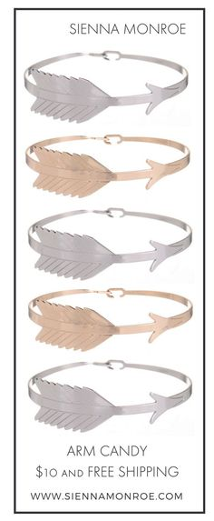 Idée et inspiration Bijoux :   Image   Description   Head off in the right direction with our Gold and Silver Arrow Bracelets. Currently part of our $10 promo! Sienna Monroe sells affordable boho fashion jewelry with an edgy elegance.