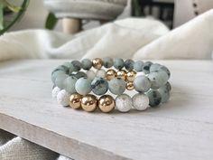Set of two gemstone bracelets. Bracelet is Sesame Jasper, gold plated Hematite, and white lava stone. Bracelet is Sesame Jasper and gold plated hematite. Bracelet Crafts, Bracelet Set, Bracelet Making, Jewelry Making, Men Bead Bracelet, Jewelry Crafts, Gemstone Bracelets, Handmade Bracelets, Handmade Jewelry
