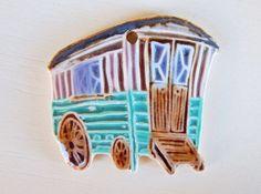 Handmade Ceramic pendant boho Gypsy caravan Pendant por Majoyoal