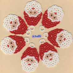 Beaded Crafts, Beaded Ornaments, Christmas Jewelry, Christmas Crafts, Christmas Ornaments, Beaded Bracelet Patterns, Beading Patterns, Perler Bead Disney, Christmas Crochet Patterns