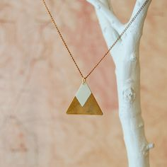 HandPainted Large Brass Triangle Necklace Seafoam por sonofasailor, $38,00