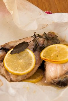 Baked lemon and sage chicken parcels - a light, #healthier way to enjoy chicken thighs and drumsticks.