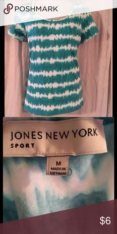 EUC Jones New York tie-dyed top This short sleeve stretchy top is blue-green/teal color. It's a Medium but can stretch larger. I have 2 more size Large in other colors that I wore when I was the same size so if you're interested in bundling all 3 I can do that. Jones New York Tops