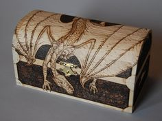 """""""Guardian Dragon"""" Keepsake Chest Commission - Front/Side View by woodtattoos, via Flickr"""