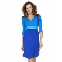 Turquoise Colour Block Maternity Dress