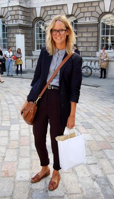 Classic French chic: chambray with belted black trousers and brogues