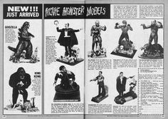 I remember these models well. I can't say how many tubes of model glue I inadvertently inhaled while assembling Dracula, Frankenstein's Monster and the Creature from the Black Lagoon models somewhere around 1970 Plastic Model Kits, Plastic Models, Vintage Comics, Vintage Toys, Vintage Models, Toys In The Attic, Sci Fi Horror, Horror Font, Famous Monsters