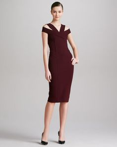 Off-the-Shoulder+Dress,+Claret+by+Donna+Karan+at+Neiman+Marcus.