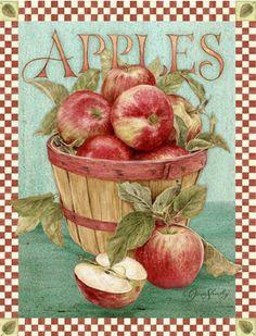 Apples illustration by Jane Shasky Vintage Diy, Vintage Labels, Vintage Ephemera, Vintage Cards, Vintage Postcards, Vintage Pictures, Vintage Images, Etiquette Vintage, Decoupage Printables