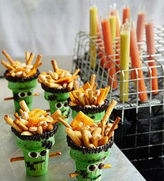 Frankensnacks (plus Petri Dish Jell-o and Mummy pizza) - makes me want to throw a halloween party!  *this might have to be inspiration because I have tried to use the link to explain it all and it won't connect...