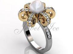 perle d'or de blanc et jaune de ton k deux 14 diamant par Jewelice