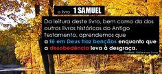 """O primeiro livro de SAMUEL é o 9º livro do AntigoTestamento e o 4º dos doze livros chamados de livros """"históricos""""  __ O Primeiro livro de Samuel registra a passagem do período dos juízes para o dos reis. Esta mudança na vida nacional de Israel gira principalmente em torno de três nomes: Samuel, Saul e Davi.  Samuel foi o último dos juízes. Saul foi o primeiro rei de Israel , e  Davi, o segundo.  Da leitura deste livro, bem como da dos outros livros históricos do Antigo Testamento…"""