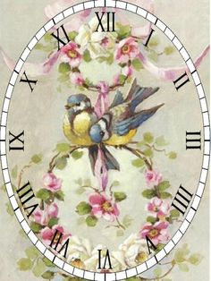 Clock Face Printable, Decoupage, Free Printables, Decorative Plates, Projects To Try, Shabby Chic, Butterfly, Pink, Clocks