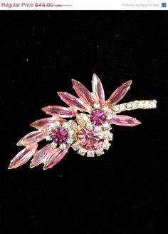 Beautiful Pink Juliana D&E Rhinestone Brooch