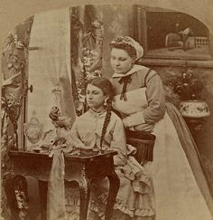 TEEN GIRL AND HER MAID SERVANT WITH A FINE FRENCH DOLL 1850s 60s STEREOVIEW