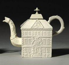English Salt Glazed Stoneware Teapot, circa 1745-50